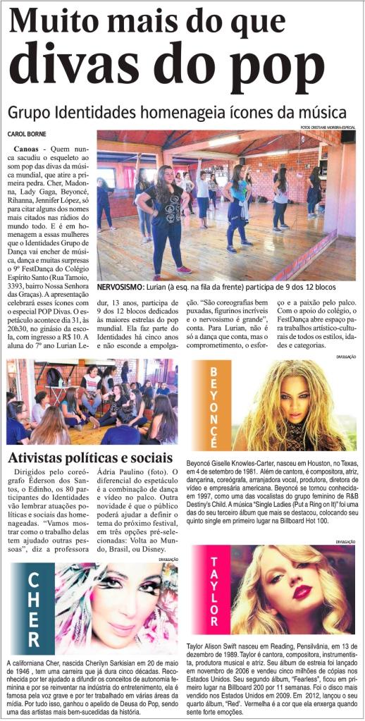 Identidades Grupo de Dança prepara o espetáculo Pop Divas para o 9º FestDança do Colégio Espírito Santo